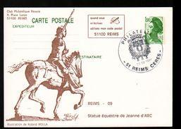 Entier Postal ,stationery Card, 51 Reims, Statue Equestre De Jeanne D'Arc - Entiers Postaux