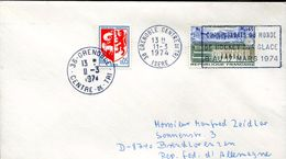 23380 France, Circuled Cover 1974 Grenoble World Hockey Champ. March 1974 - Hockey (sur Glace)