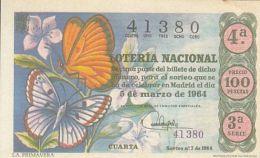 LOTTERY TICKETS, SPANISH NATIONAL LOTTERY COMPANY, BUTTERFLY, MADRID, 1964, SPAIN - Billets De Loterie