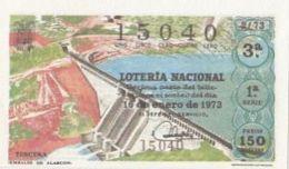 LOTTERY TICKETS, SPANISH NATIONAL LOTTERY COMPANY, DAM, 1973, SPAIN - Lotterielose