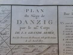CARTE DU SIÈGE DE DANZIG 1807 PAR LE 10 CORPS DE LA GRANDE ARMÉE 66.5 X 45.5 - Geographical Maps