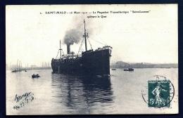 """CPA ANCIENNE FRANCE- PAQUEBOTS- ST-MALOT (35)-LE TRANSTLANYIQUE """"SAINT-LAURENT"""" QUITTANT LE QUAI- 16-03-1910- GROS PLAN - Paquebots"""