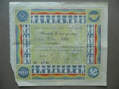 Attestato Di Benemerenza Lega Nazionale Delle Cooperative L. 100 Roma Anni '40 - Azioni & Titoli