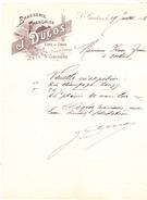 31 Saint Gaudens -Brasserie Française J DUCOS,vins En Gros.Lettre Illustrée De 1898. Tb état. - 1800 – 1899