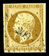 N°9, 10c Bistre-jaune, Obl PC, TB (signé Calves/certificat)   Cote: 750 Euros   Qualité: O - 1852 Louis-Napoleon