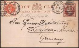 3032/ Grande Bretagne Great Britain Entier Stationery Carte Postale  N°16 Karton Winchester Bielefeld Germany 1891 - Material Postal