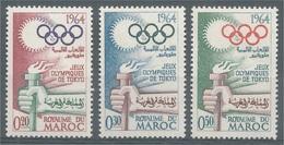 Morocco, 1964 Summer Olympics, Tokyo, Japan, 1964, MNH VF  Complete Set Of 3 - Morocco (1956-...)