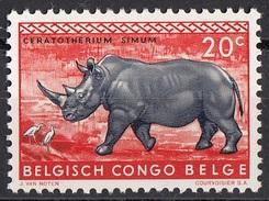 307 Congo Belga 1959 Rinoceronte Bianco Belge Belgisch Belgium Nuovo - Rhinozerosse