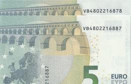 2 X € 5 SPAIN  VB V010 H6  Pareja Radar  UNC - EURO
