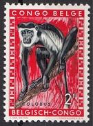 312 Congo Belga 1959 Black-and·white Monkey Scimmia Colobus Belge Belgisch Belgium Nuovo - Scimmie