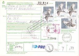 Sweden 1981 Gyrfalcon, Falco Rusticolus, Address Card With Six Stamps, Mi 1037, 1140 X4, 1186 Postage SEK 215, Document - Oblitérés