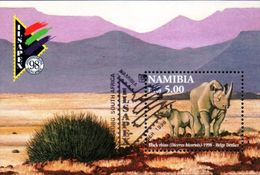 Namibia - 1998 ILSAPEX Rhino MS (o) # SG 818 , Mi Block 45 - Rhinozerosse