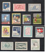 TB(TUBERCULOSIS)stamps1907-1959:Lot Of 16 TB Seals From Finland And Denmark(with Gum) - Other Collections