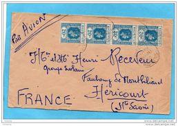 MARCOPHILIE Lettre-MAURICE-cad 1950-bande De 4 Stamps N°207 George VI--pour   Françe - Maurice (1968-...)