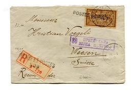 !!! GUERRE 1914-1918 : 30C MERSON SUR LETTRE RECO POUR LA SUISSE DE 1918, GRIFFE POSTES SERBES - Postmark Collection (Covers)