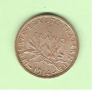 FR084B. 1 FR SEMEUSE ARGENT 1914. ETAT COURANT. COTE 15.00 €... - 75 % - France