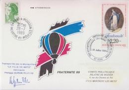 Aérostation, Fraternité 89 Pilâtre De Rozier, 28 Juillet 89, Transporté Par Montgolfière, Cachet D'huissier - Storia Postale