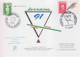 Aérostation, Biennale Pilâtre De Rozier, 24 Juillet 91, Transporté Par Montgolfière, Cachet D'huissier + Vol Retardé - France