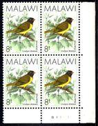 Malawi - 1988 Birds 8t Finch Corner Block 'B1' (**) - Malawi (1964-...)