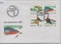 1997 Pro Juventute FDC J344-J347/1629-1932 20.11.97 Fish, Animaux, Etang, Et Marais - FDC