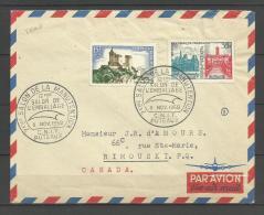 Lettre Avion Tarif Spécial CANADA 1958 / Affr. Jumelage Paris Rome - Chateau De Foix - Postmark Collection (Covers)