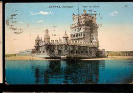 Portugal & Circulated Postal , Lisboa, Torre De Belém, Coimbra 1918 (216) - Monuments
