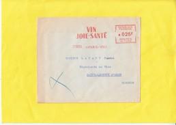 """EMA Sur Lettre De PARIS-VIII   Le 27 XII 56 """"  VIN  JOIE-SANTE  """" Pour SAINT-LAURENT D'ARCE   Gironde - Poststempel (Briefe)"""