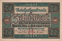 GERMANY 10 MARK REICHSBANKNOTE 1920 AD PICK NO.67 UNCIRCULATED UNC - [ 3] 1918-1933 : Weimar Republic