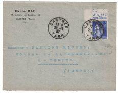 """PUBLICITÉ BANDE PUB DE CARNET """" POSTE AERIENNE """" PAIX 365 LETTRE 1937 CAD CASTRES TARN ENTETE PIERRE GAU - 1921-1960: Modern Period"""