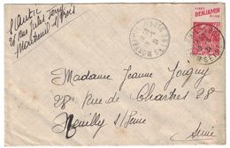 """PUBLICITÉ BANDE PUB DE CARNET """" LISEZ BENJAMIN """" FACHI 272 LETTRE 1931 CAD MANUEL MONTREUIL SUR BOIS SEINE - Marcophilie (Lettres)"""