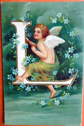 ANGELOT ALPHABET LETTRE L CARTE GAUFREE BON ETAT ABECEDAIRE - Engelen