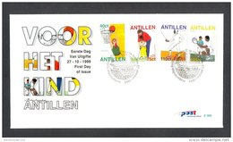 Ndv309fb KINDERZEGELS SPORTS TENNIS BASKETBALL GOLF SCHERMEN JUGENDWOHLFAHRT NEDERLANDSE ANTILLEN 1999 FDC - Stamps