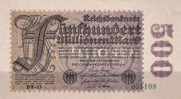 GERMANY 500 MILLIONEN MARK REICHSBANKNOTE 1923 AD PICK NO.110 UNCIRCULATED UNC - [ 3] 1918-1933: Weimarrepubliek