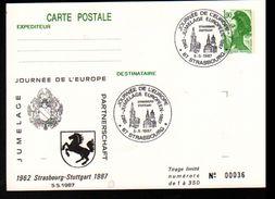 Entier Postal ,stationery Card, 67 Strasbourg, Journée De L'Europe, Jumelage Avec Stuttgart - Entiers Postaux