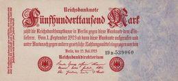 GERMANY 500 THOUSAND MARK REICHSBANKNOTE 1923 AD PICK NO.92 UNCIRCULATED UNC - 1918-1933: Weimarer Republik