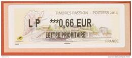 VIGNETTE LISA 2 - 2014 - TIMBRES PASSION - POITIERS 2014 - MENTION 0,66 EUR LETTRE PRIORITAIRE - NEUF - 2010-... Abgebildete Automatenmarke