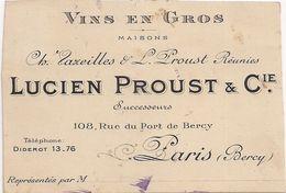 Vins En Gros Lucien Proust & Compagnie  -  Paris  (Bercy)  -  Découpe Du Contour Irrégulière  - - Cartoncini Da Visita