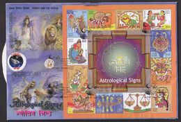 2010 India Astrological Signs  Astrology  Planets  Horse Cancer Lion Block On Private FDC # 08921d - Astrology