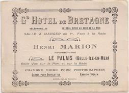 Grand Hôtel De Bretagne - Henri Marion - Le Palais  ( Belle-Ile-en-Mer) Plan Au Dos - Cartoncini Da Visita