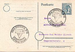 All.Besetzung  Gzs-Postkarte P962,II.Kontrollratsausg.1947 12(Pf)grau,blanko SSt DRESDEN 8.2.1948 VVN Landeskonferenz - Zone AAS