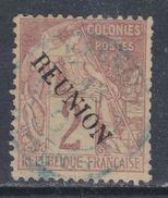 Réunion N° 18 O Timbres Des Colonies Françaises Surchargés : 2 C. Lilas-brun Oblitération Légère Sinon TB - Used Stamps