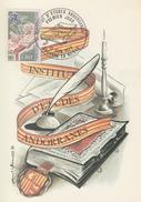Carte  Maximum   1er  Jour   ANDORRE   Institut  Des  Etudes  Andorranes   1977 - Maximumkarten (MC)