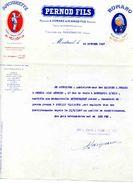 """Distillerie D'alcools Et Spiritueux- Maison PERNOD Fils, Marques: """"Amourette"""" Et """"Romano"""", Montreuil Sous Bois, 1927 - Factures"""