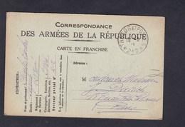 Carte Franchise Militaire Guerre 14-18 Correspondance Armées De Republique Charles Carlen Sergent Au 228 228è Regiment - Marcophilie (Lettres)