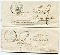 YONNEde PONT SUR YONNE 2 LAC De 1839 Avec Dateur T 13 Taxées 2 Pour BRAY SUR SEINE - Marcophilie (Lettres)