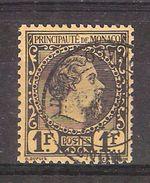 MONACO 1885, Prince Charles III , Yvert N° 9, 1 FRANC C Noir / Jaune Obl, TB - Monaco