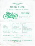 C1950 Publicité MOTO GUZZI - Guzzina - Ets L. Vanderhulst, Bruxelles - 3 Scans - Motorfietsen