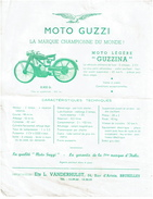 C1950 Publicité MOTO GUZZI - Guzzina - Ets L. Vanderhulst, Bruxelles - 3 Scans - Motos