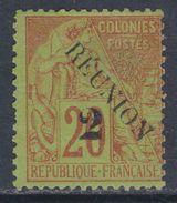 Réunion N° 31a (.)  Timbres Des Colonies Françaises Surchargées : 2 C. Sur 20 C. ( Type II )  Neuf Sans Gomme Sinon TB - Unused Stamps