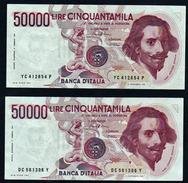 ITALIE: N° 113a. 50000lire Gian Lorenzo Bernini. Date 1984. Lot De 2 Billets. - 50000 Lire